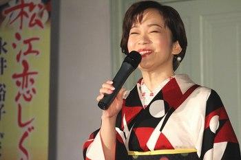 満面の笑みで松江観光大使の抱負を語る永井裕子.jpg